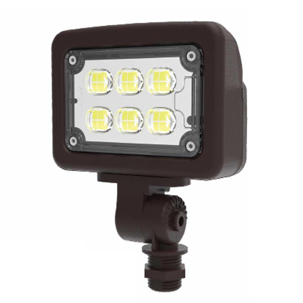 12-Watt 120-277-Volt Knuckle Line Voltage Bronze Outdoor Integrated LED Small Landscape Flood Light, Selectable Color