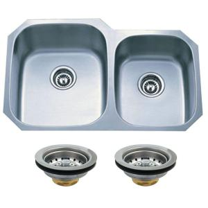 Kingston Brass Undermount Stainless Steel 32 In. 0 Hole Double Bowl Kitchen  Sink In Satin HKGKUD3221P   The Home Depot