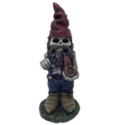 19 in. H Skeleton Man Gnome with Pipe Lawn Statuary