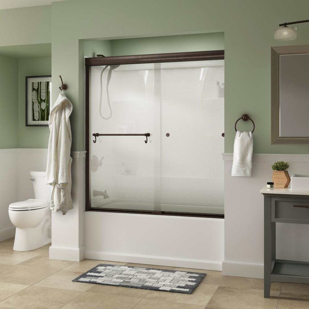 Portman 60 in. x 58-1/8 in. Semi-Frameless Traditional Sliding Bathtub Door in Bronze with Droplet Glass
