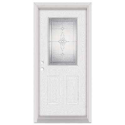 37.375 in. x 83 in. Victoria Right-Hand 1/2 Lite Zinc Finished Fiberglass Oak Woodgrain Prehung Front Door Brickmould