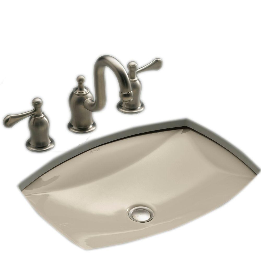 Kohler Kelston Undermount Stainless Steal Bathroom Sink With Overflow Drain In Sandbar