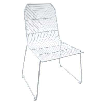 34 in. White Metal Side Chair