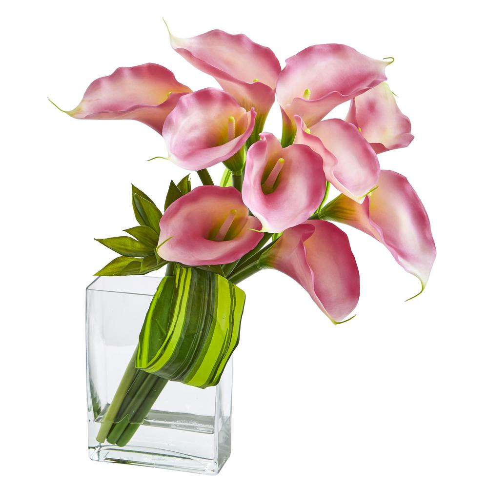 20 in. High Pink Calla Lily and Succulent Bouquet Artificial Arrangement