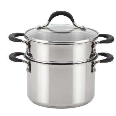 Momentum 3 Qt. Stainless-Steel Covered Straining Non-Stick Saucepot with Steamer Insert