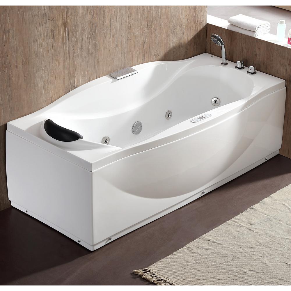 EAGO 71 in. Acrylic Flatbottom Whirlpool Bathtub in White