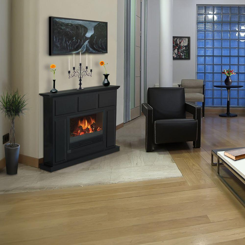 Quality Craft 44 in. Electric Fireplace in Black-DISCONTINUED