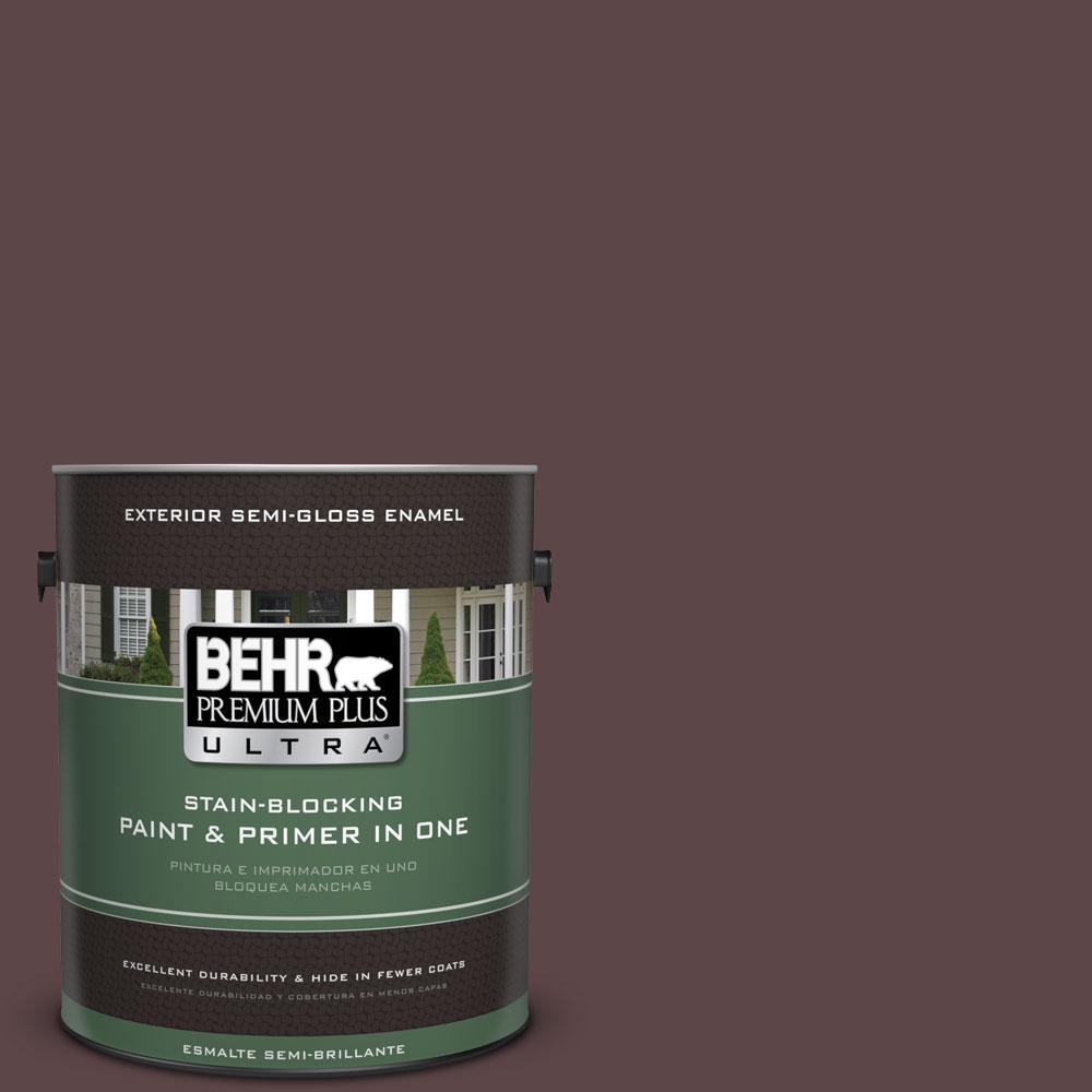 BEHR Premium Plus Ultra 1-gal. #BNC-31 Mahogany Spice Semi-Gloss Enamel Exterior Paint