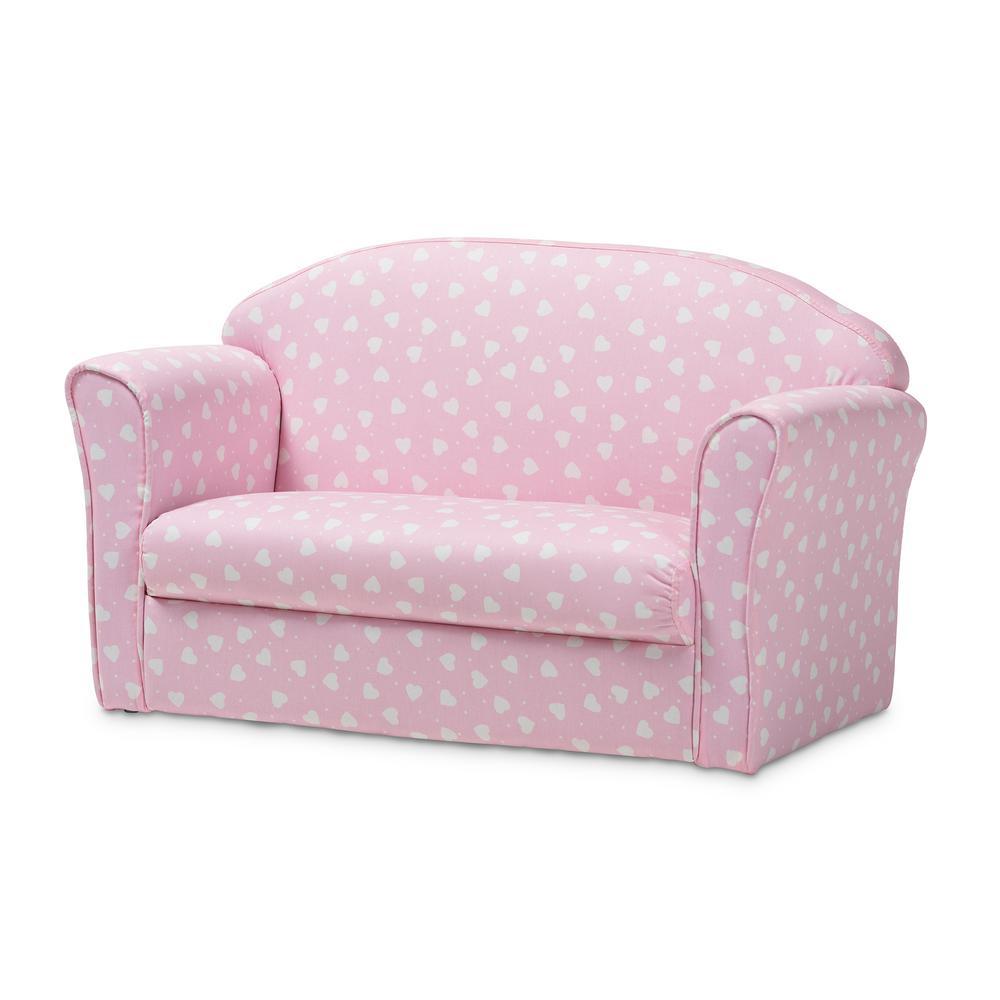 Prime Baxton Studio Erica Pink And White Heart Print Fabric Sofa Machost Co Dining Chair Design Ideas Machostcouk