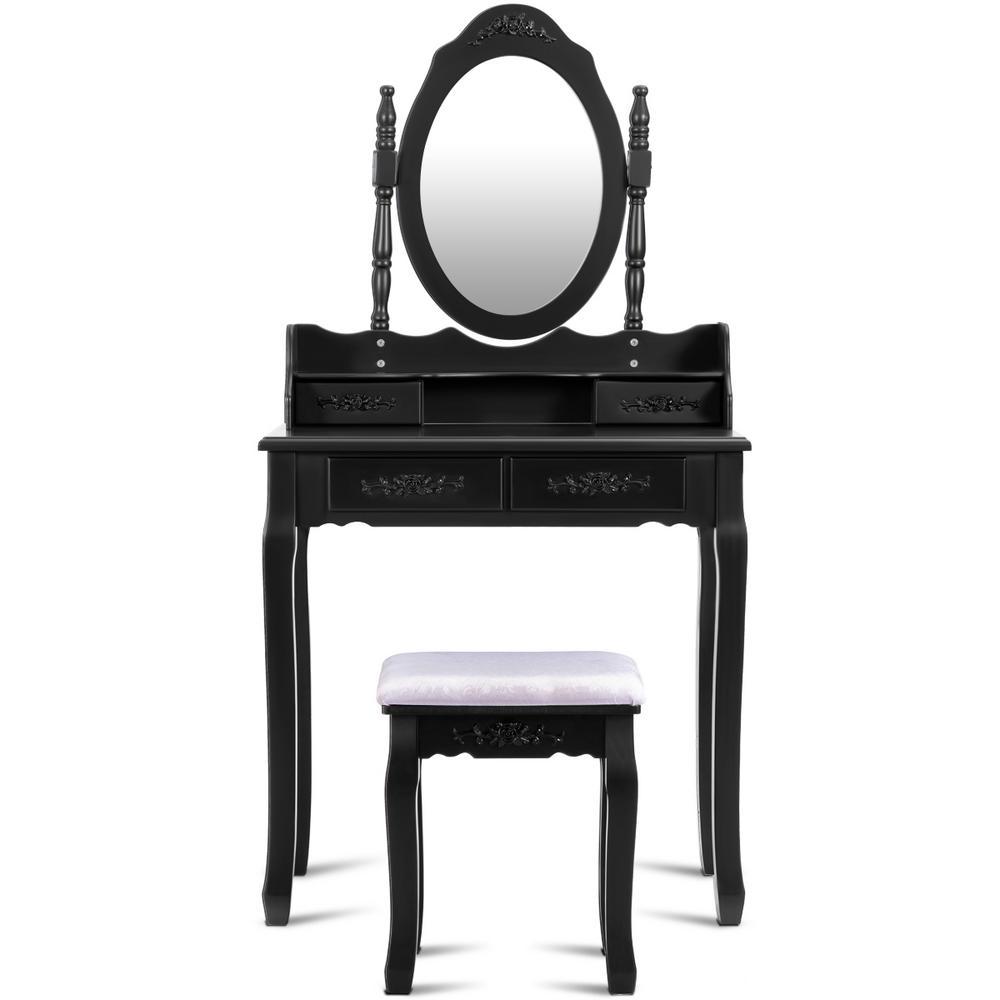 3-Piece Black Bedroom Set Vanity Wood Makeup Dressing Table Stool Set Living Room Mirror (4-Drawers)