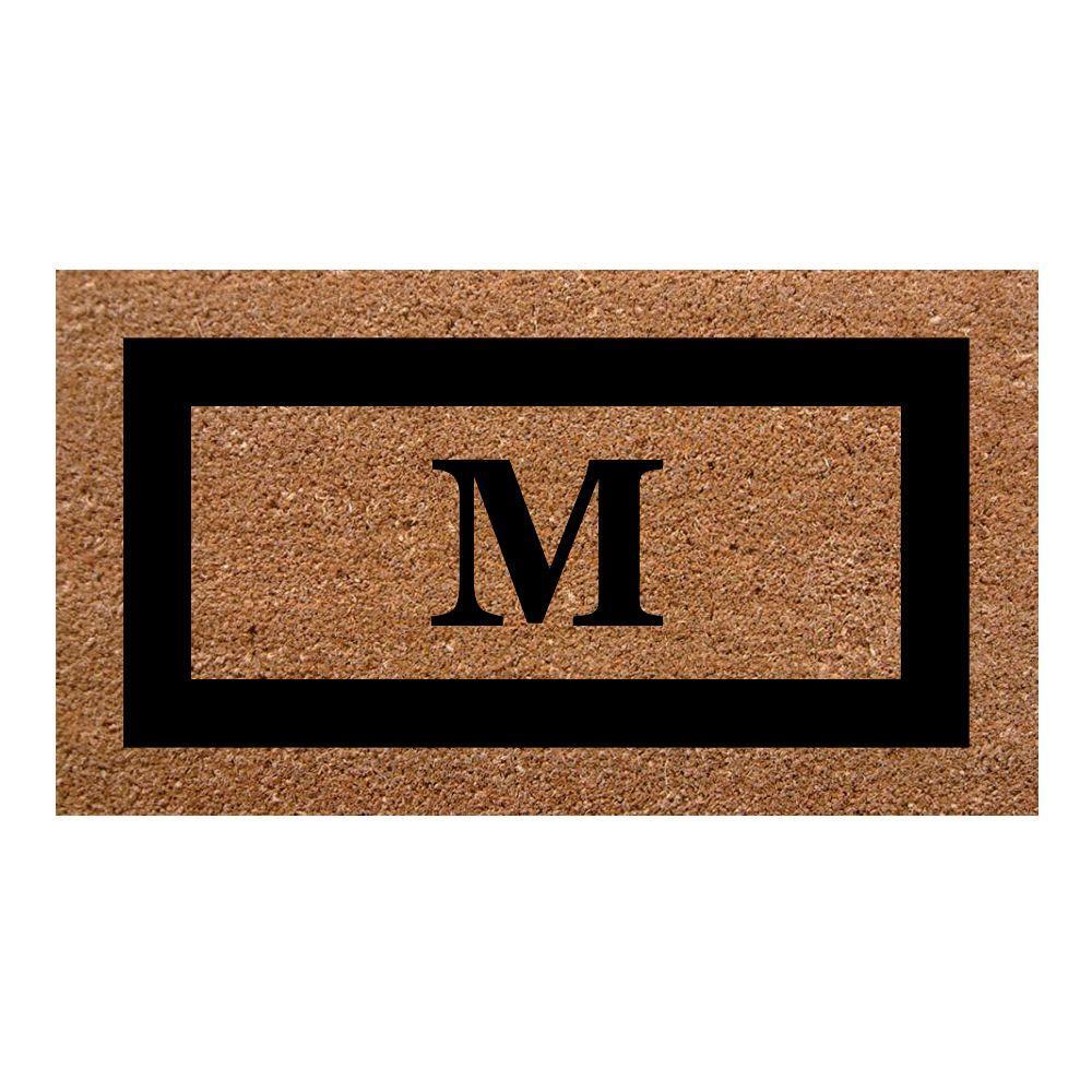 Single Picture Frame Black 20 in. x 36 in. SuperScraper Monogrammed M Door Mat