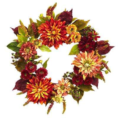 Dahlia and Mum 22 in. Wreath