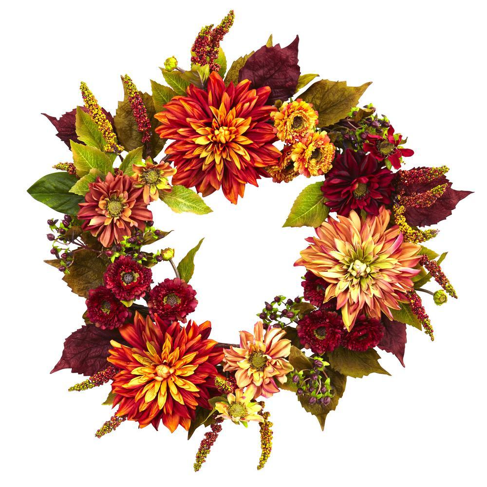 Dahlia and Mum 22 in. Wreath