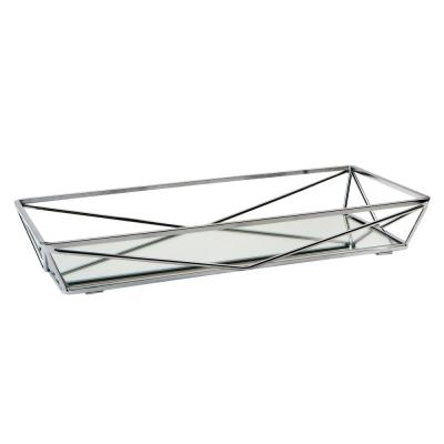 Large Geometric Mirrored Vanity Tray in Chrome