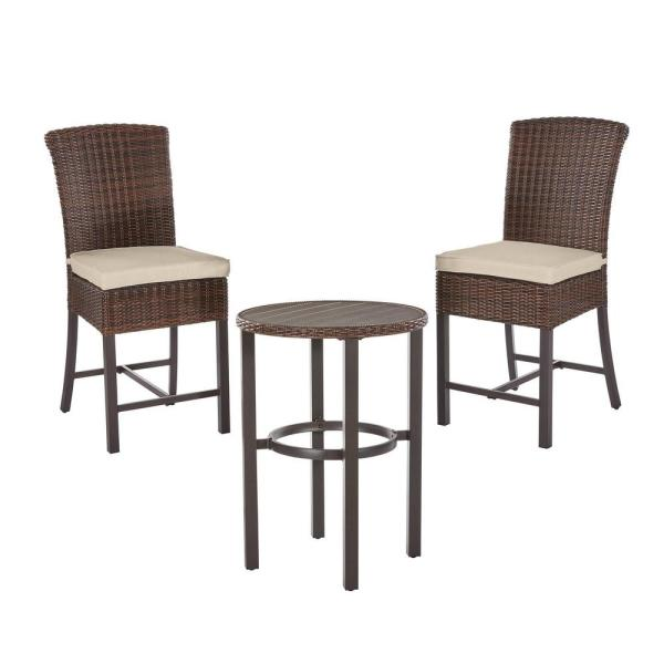 Harper Creek Brown 3-Piece Steel Outdoor Patio Bar Height Dining Set with CushionGuard Putty Tan Cushions
