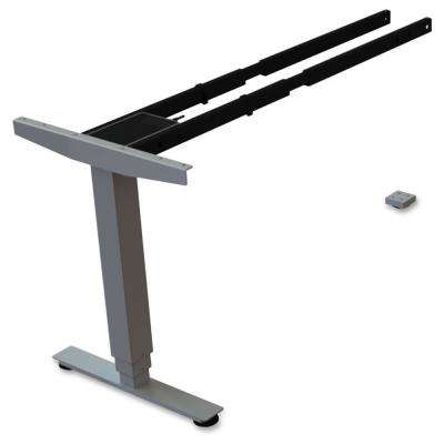 24 in. x 44 in. x 27 in. Silver 3-Tier Sit/Stand Desk Silver Third-leg Add-on Kit