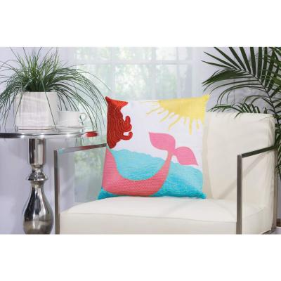 Mermaid Multicolored Graphic Stain Resistant Polyester 18 in. x 18 in. Throw Pillow