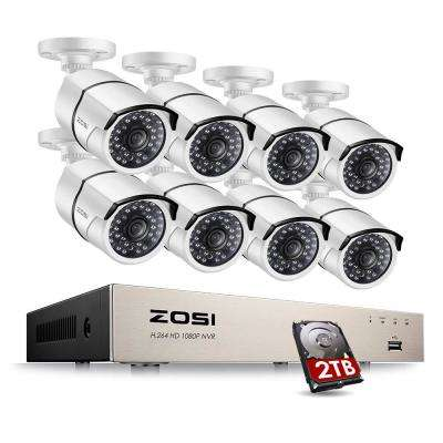 1080p PoE 8-Channel 2TB Hard Drive DVR Security Camera System with 8-Wired Bullet Cameras