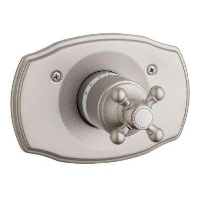 Geneva Cross Single Handle Thermostat Valve Trim Kit in Brushed Nickel (Valve Sold Separately)