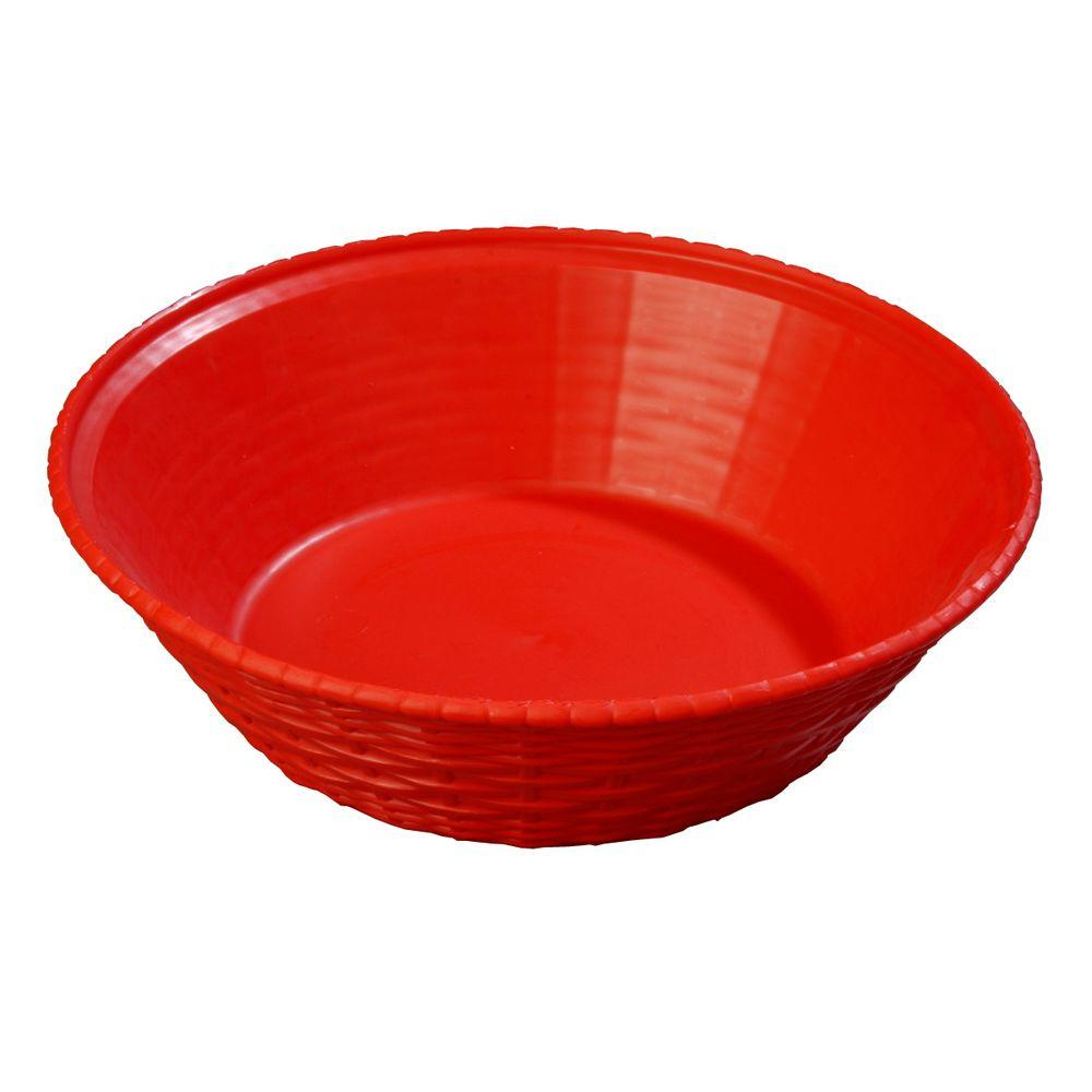 9 in. Diameter Polypropylene Round Serving Basket in Red (Case of