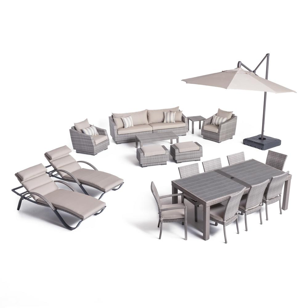 RST Brands Cannes Estate Wicker 20-Piece Patio Conversation Set with Slate Grey Cushions