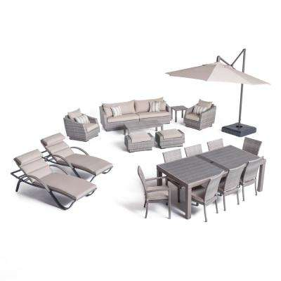 Cannes Estate Wicker 20-Piece Patio Conversation Set with Slate Grey Cushions