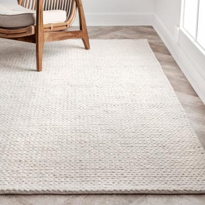 Caryatid Chunky Woolen Cable Off-White 6 ft. Round Rug