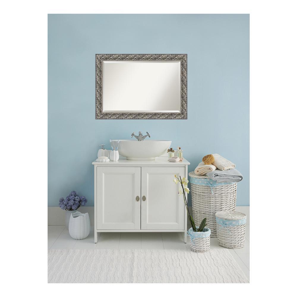 Silver Luxor Wood 42 in. W x 30 in. H Single Contemporary Bathroom Vanity Mirror