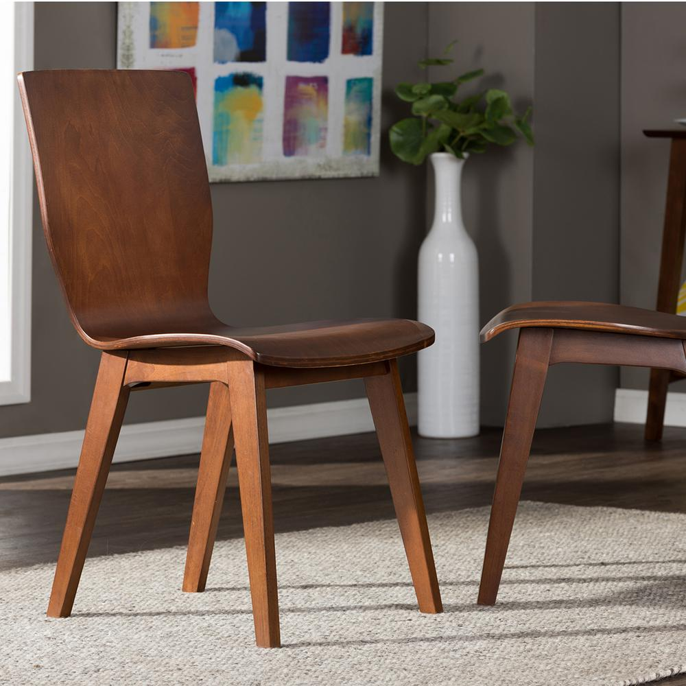 Elsa Medium Brown Wood Dining Chairs (Set of 2)