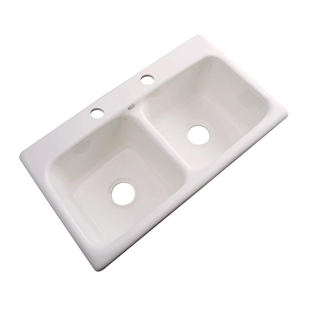 Brighton Drop-in Acrylic 33x19x9 in. 2-Hole Double Basin Kitchen Sink in Bone