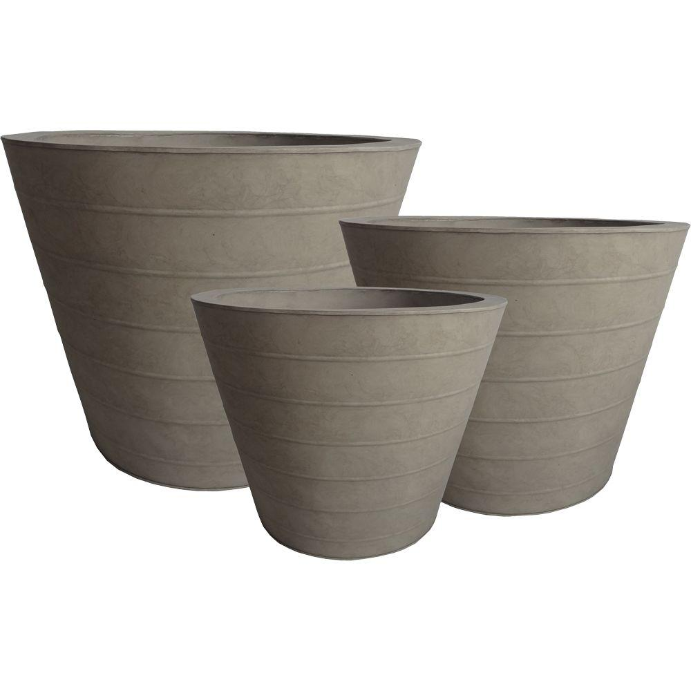 Pride Garden Products Alloy Round Taupe Tin Planters (Set of 3)