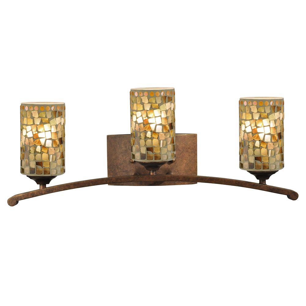 Plug in vanity lighting lighting the home depot knighton 3 light antique golden bronze vanity light aloadofball Images