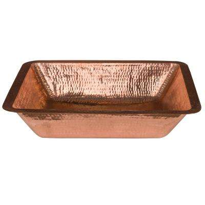 Under Counter Rectangle Hammered Copper 19 in. Bathroom Sink in Polished Copper