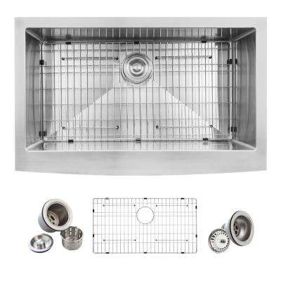 Farmhouse Apron Front Stainless Steel 33 in. Single Bowl Kitchen Sink Kit in Satin
