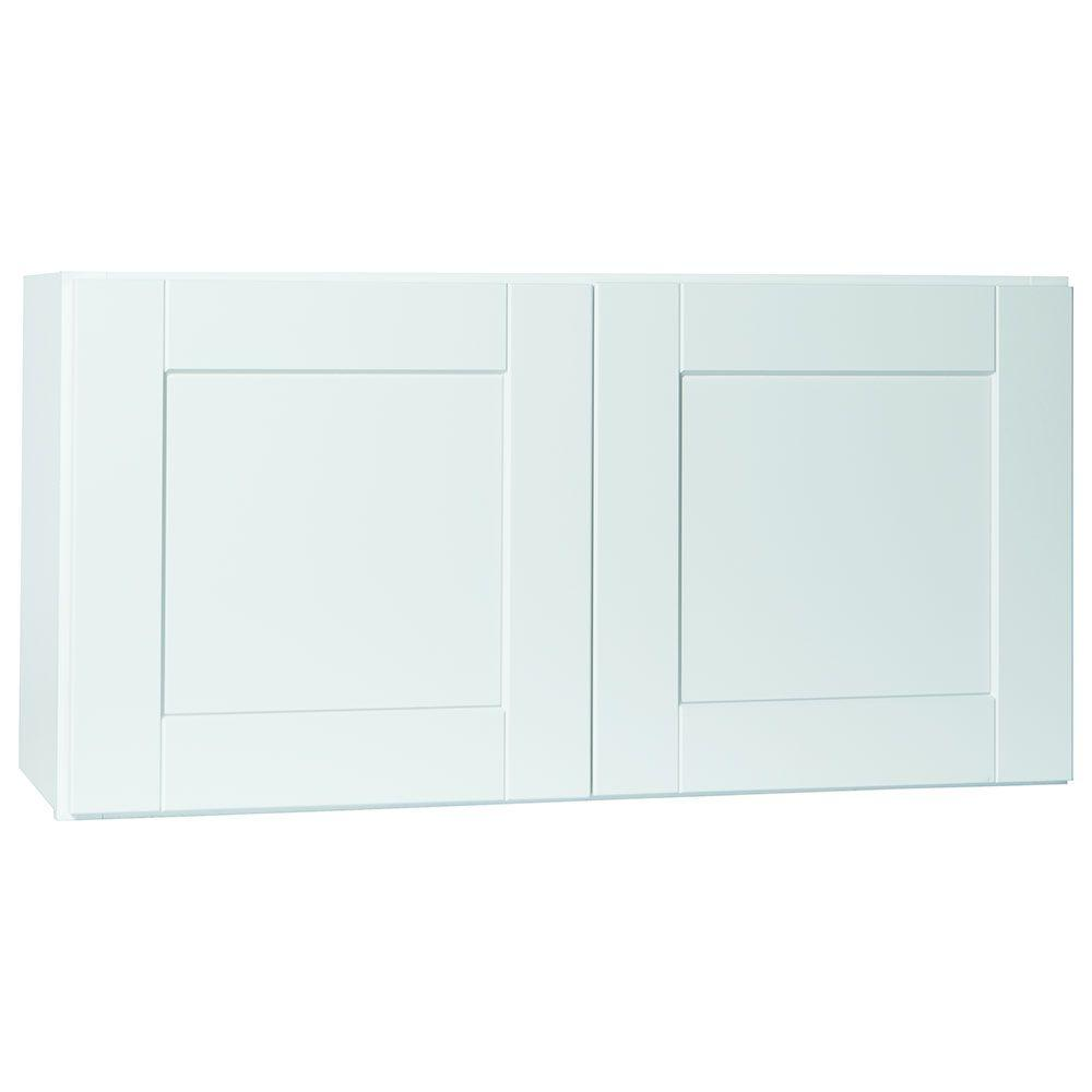 Shaker Assembled 36x18x12 in. Wall Bridge Kitchen Cabinet in Satin White