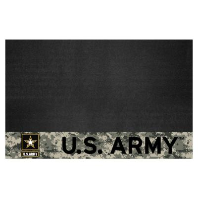 U.S. Army Black 26 in. x 42 in. Vinyl Outdoor Grill Mat