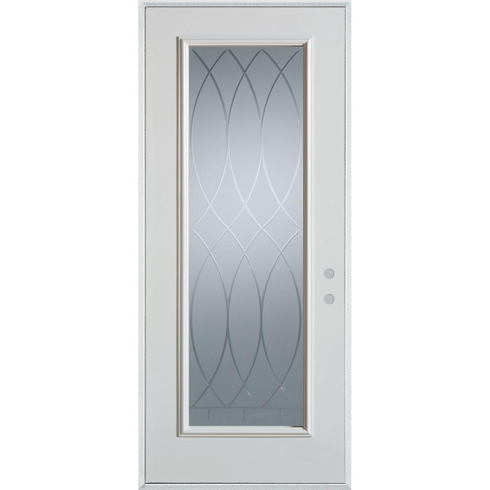 Stanley doors in x in v groove full lite for Home depot steel doors with glass