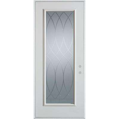 37.375 in. x 82.375 in. V-Groove Full Lite Prefinished White Left-Hand Inswing Steel Prehung Front Door