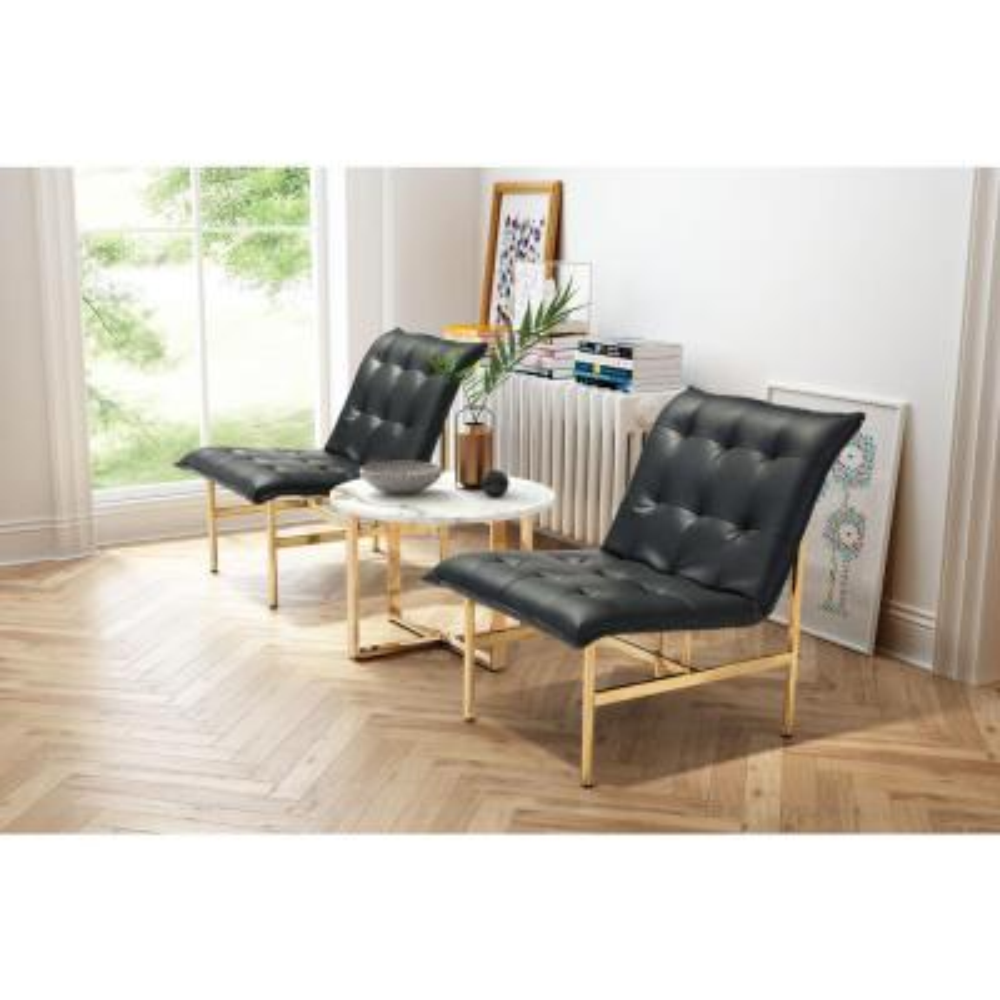 Slate Black Leatherette Lounge Chair