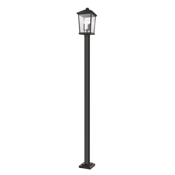 Filament Design 3 Light Black Outdoor Post Mount With Clear Beveled Glass Hd Te34575 The Home Depot