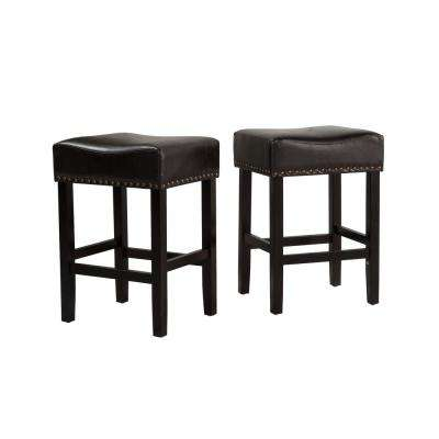 Lisette 26 in. Black Cushioned Counter stool (Set of 2)