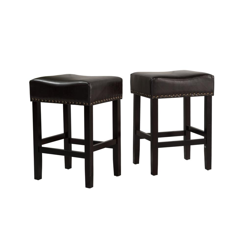 NobleHouse Noble House Lisette 26 in. Black Cushioned Counter stool (Set of 2)