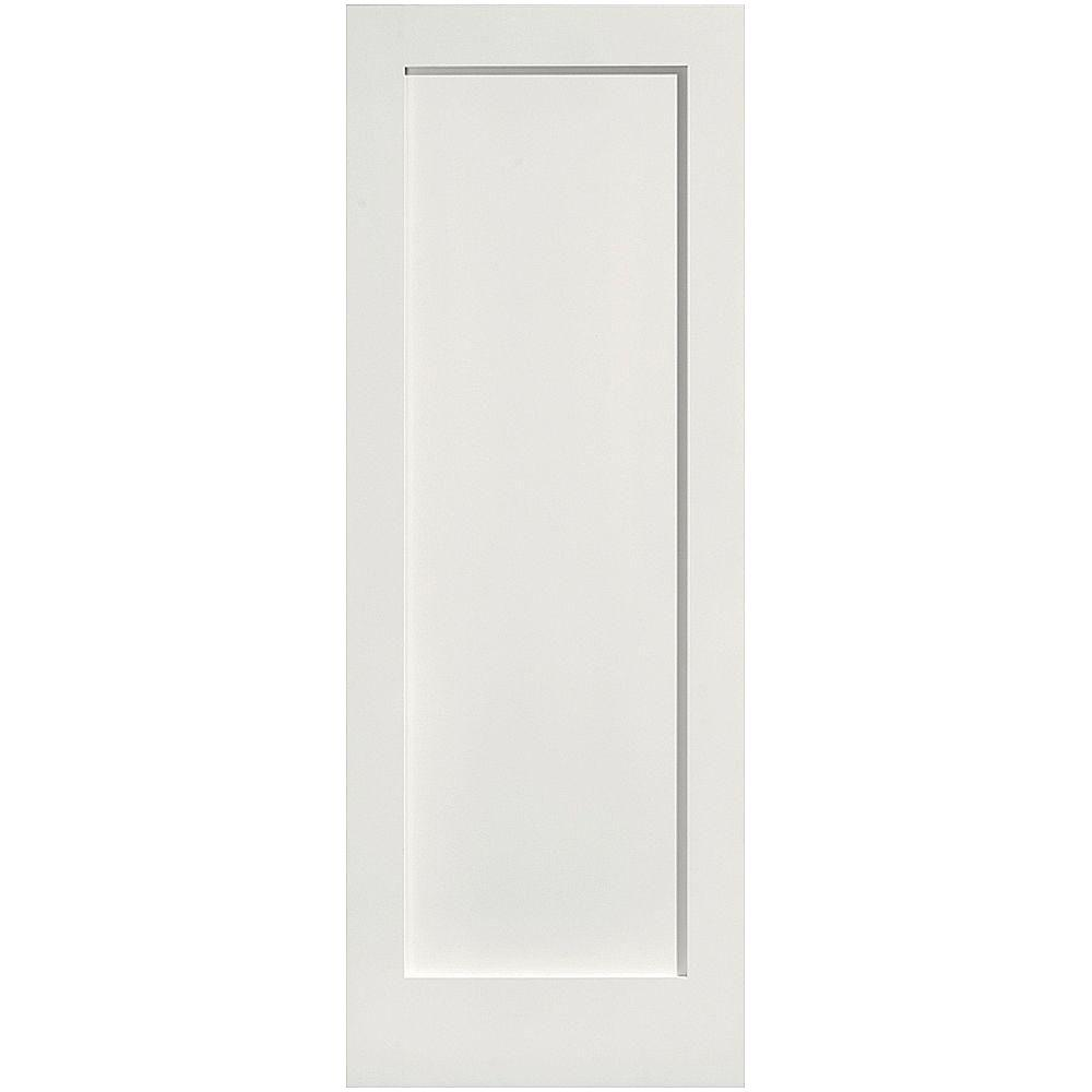 Masonite 28 in. x 80 in. MDF Series Smooth 1-Panel Solid Core Primed Composite Interior Door Slab