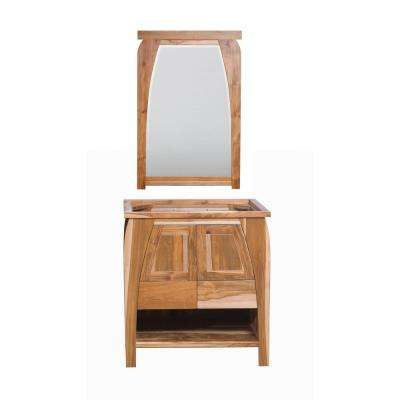 Tranquility 30 in. L Natural Teak Vanity Only With 24 in. L x 35 in. H Mirror