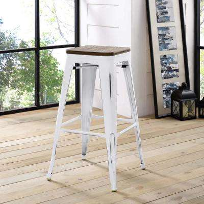 Promenade 30 in. White Bar Stool