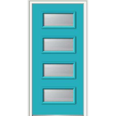 36 in. x 80 in. Celeste Right-Hand Inswing 4-Lite Frosted Glass Painted Fiberglass Smooth Prehung Front Door