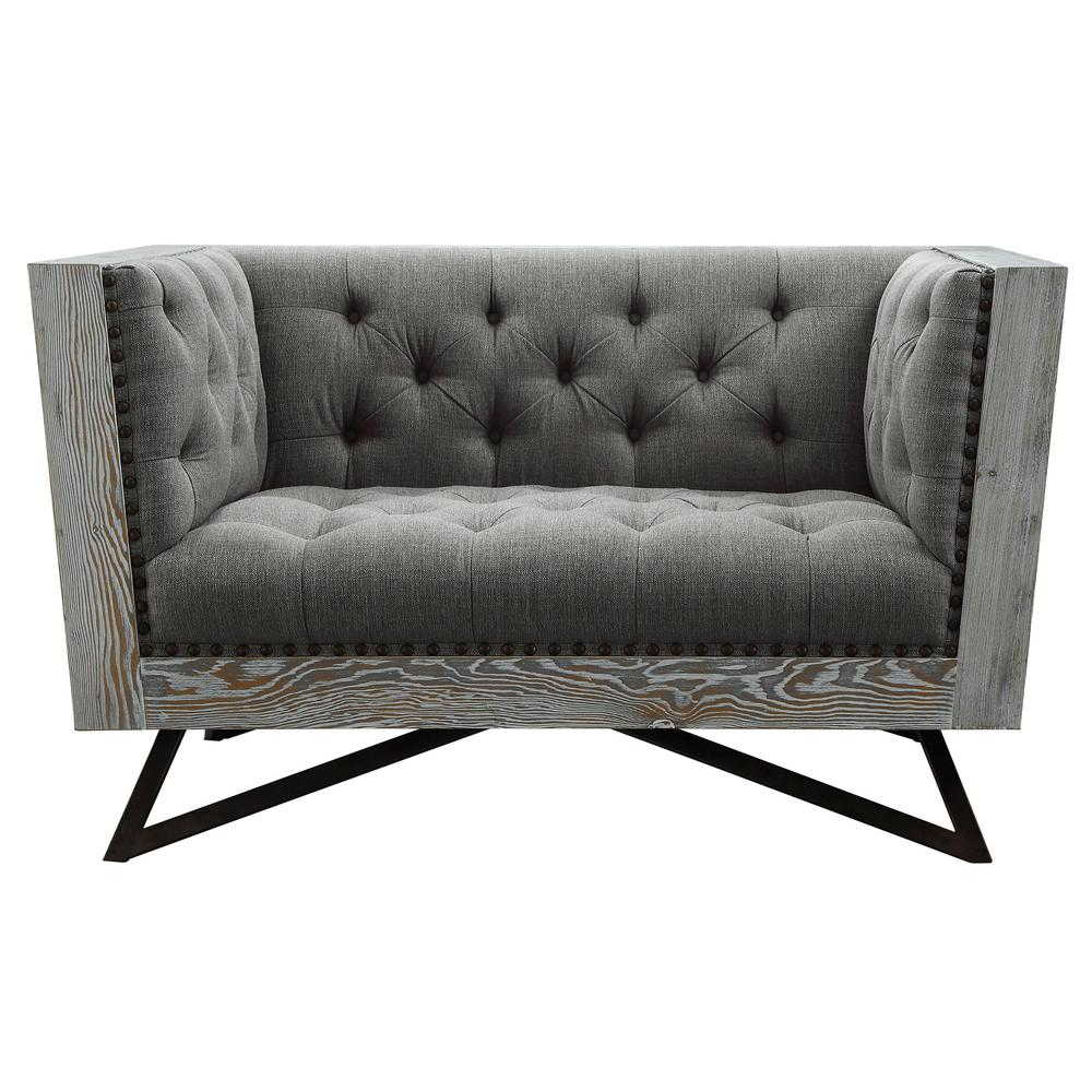 Regis Grey Fabric Contemporary Chair with Black Metal Legs and Antique  Brown Nailhead Accents
