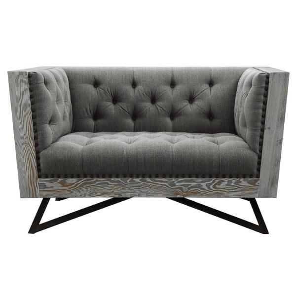 Regis Grey Fabric Contemporary Chair with Black Metal Legs and ...