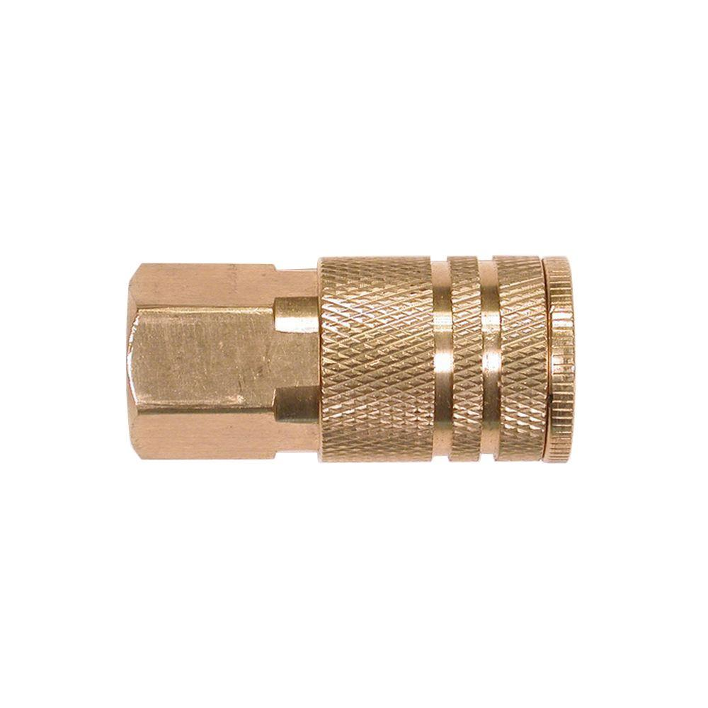 Primefit 1/4 in. Industrial 6-Ball Brass Coupler with 1/4 in. Female NPT