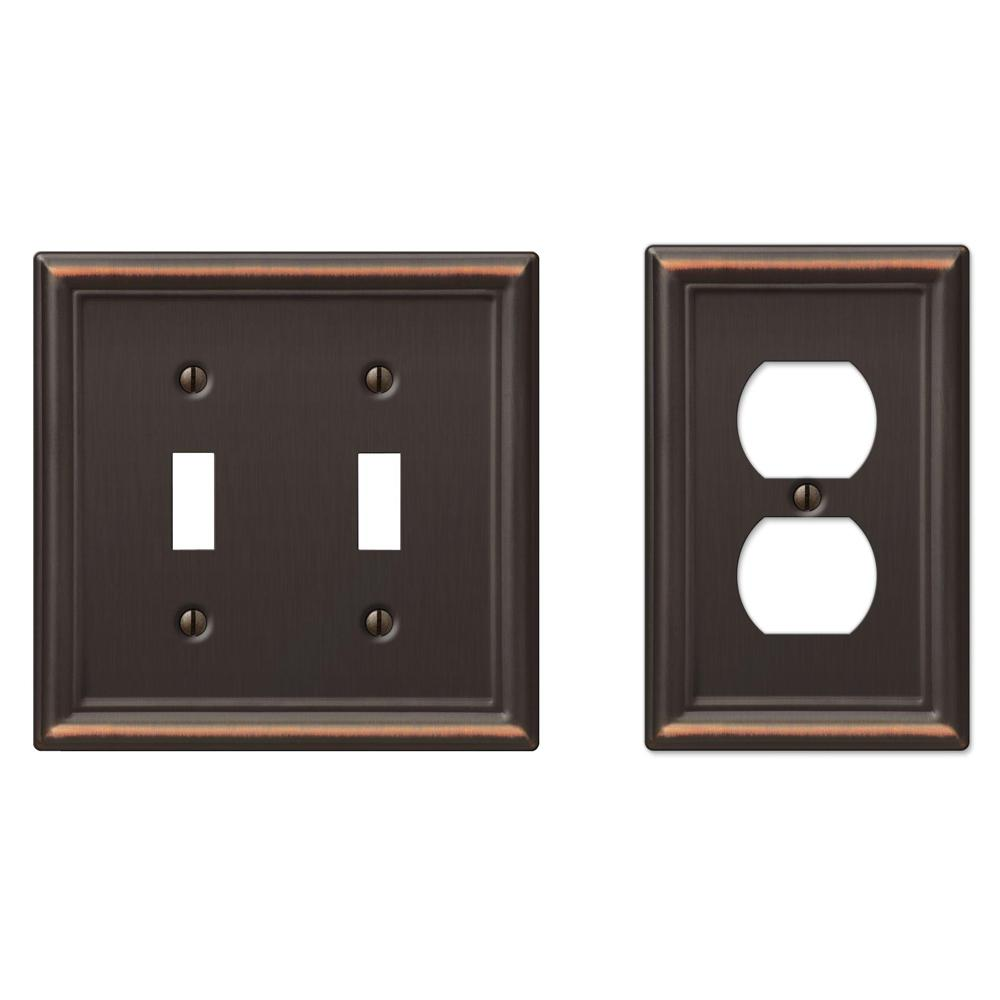 hamptonbay Hampton Bay Duplex Outlet Plate - Oil-Rubbed Bronze Stamped, Aged Bronze Stamped